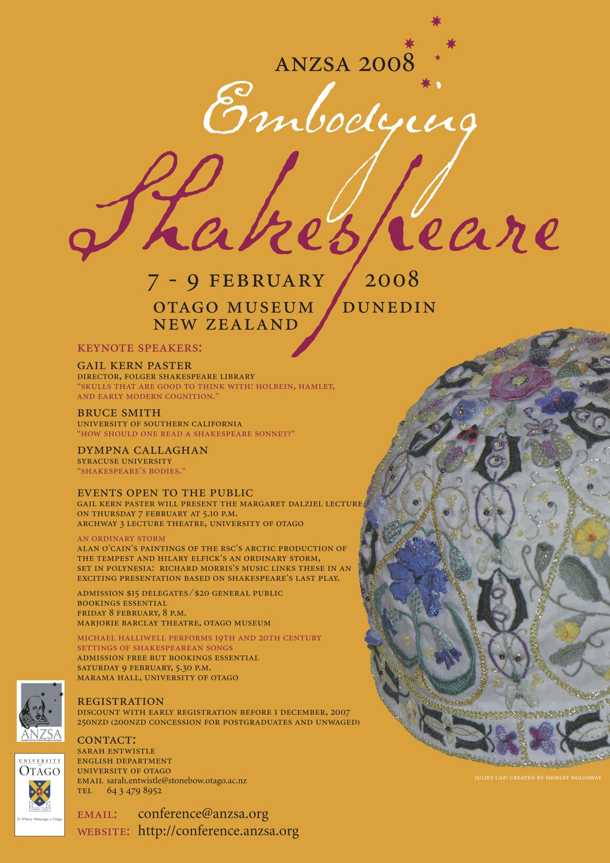 "Poster for the 2008 ANZSA Conference, ""Embodying Shakespeare"""