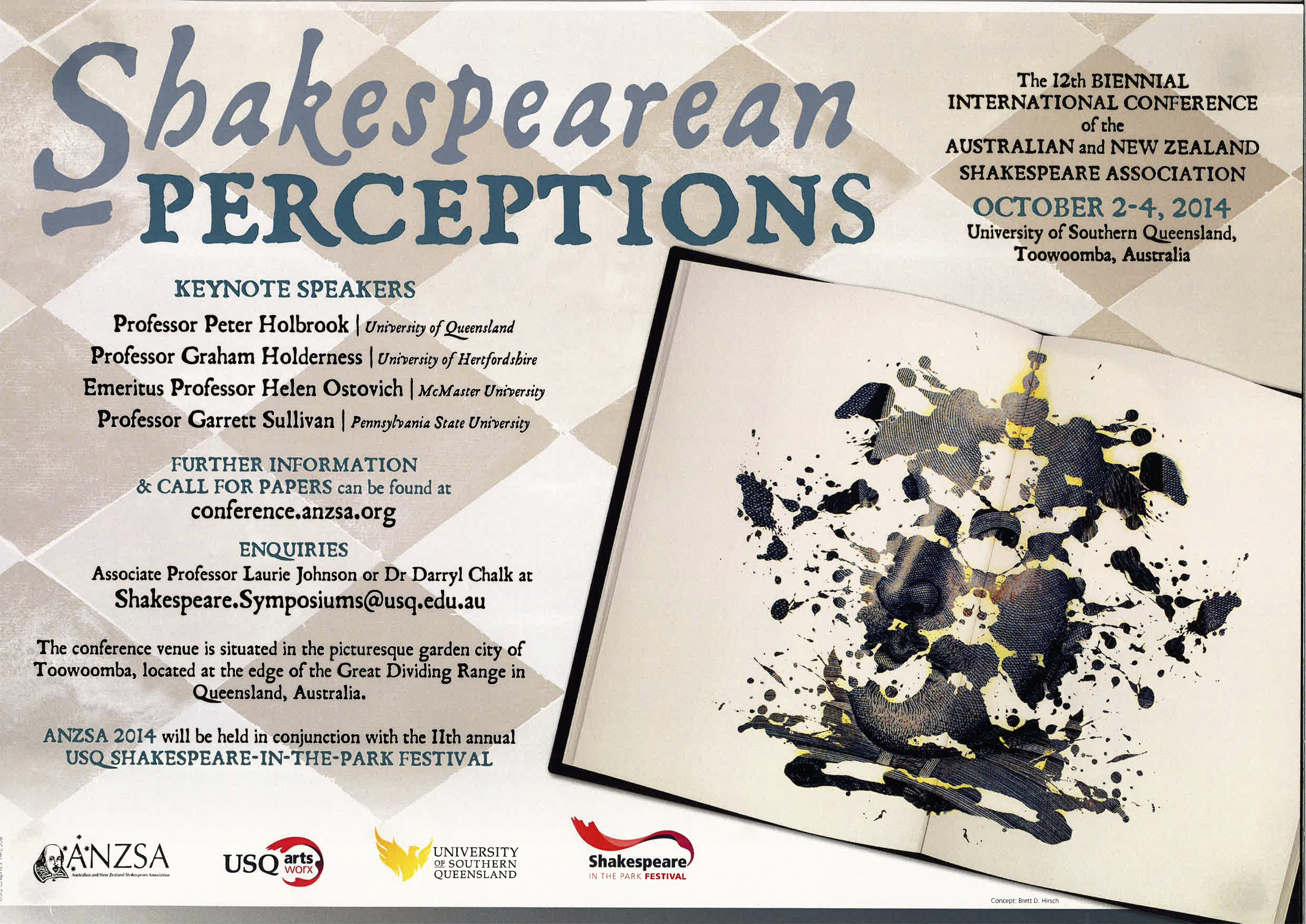 "Poster for 2014 ANZA Conferece, ""Shakespearean Perceptions"""